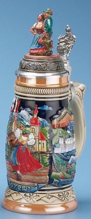 Alpenland Dancers Stein (Authentic German Beer Stein) - The raised relief, hand painted decoration features a Bavarian couple dancing with an Alpine scene behind them.