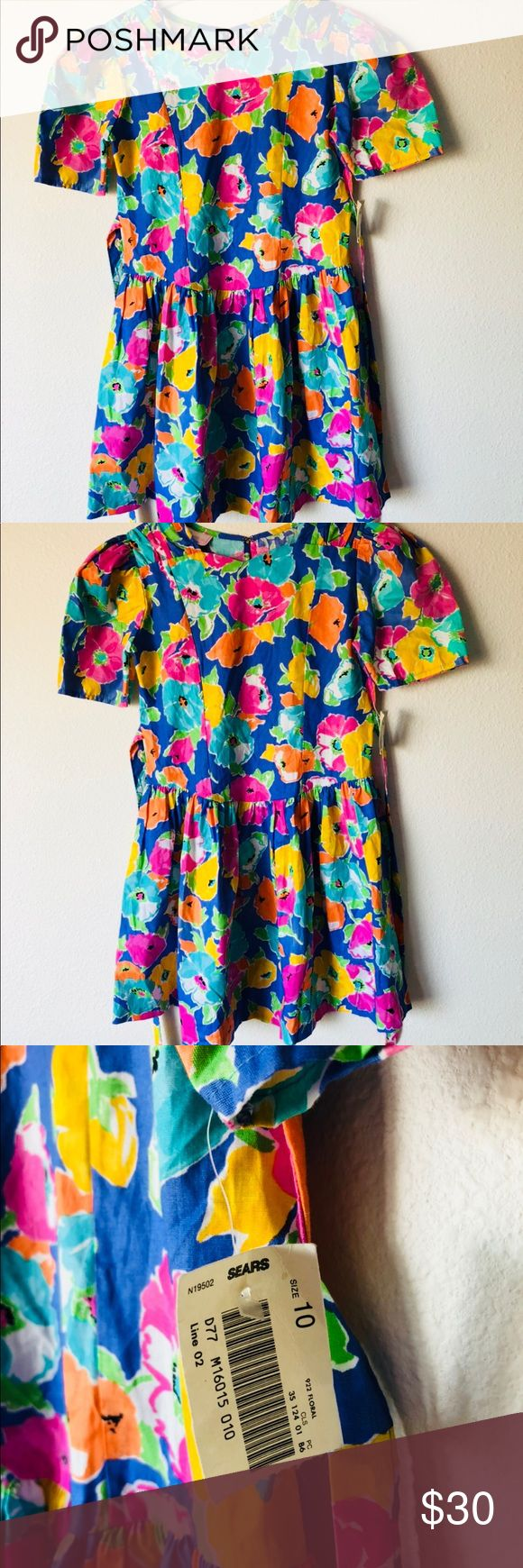 Vintage 90s Sears Picture perfect girls dress 10 Beautiful   Vintage Deadstock   New with tags  90s   Bold cotton dress  Puffy shoulders  Bright neon colors  Made in USA   Size 10 Authentic Original Vintage Style Dresses Casual