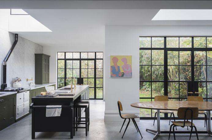 Kitchen with steel-framed windows: Plain-English Mapesbury Estate kitchen in London | Remodelista