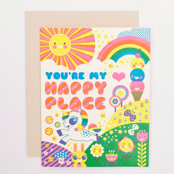 Another cute colorful card from Hello Lucky with a unicorn, ice cream cone,  sun, rainbow, butterfly, bunny rabbit, and flowers.