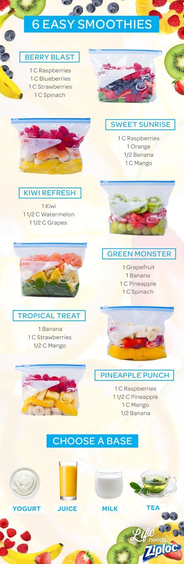 Shake up your smoothie routine with these tasty fruit and veggie combinations, featuring strawberries, raspberries, spinach, mango, banana, kiwi, and grapes. Each recipe can be pre-portioned in a Ziploc:registered: bag and frozen ahead of time. Then you can just grab a bag, let it thaw, add yogurt, juice, milk, or tea as your liquid base, and blend. These smoothie ideas are perfect for kids or your morning breakfast.