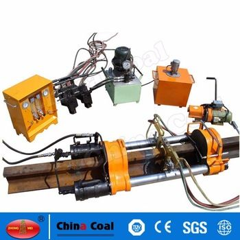 chinacoal03 YH-60 Mini Mobile Rail Welding Machine Made in China Rail movable air pressure welding equipment is mainly used in rail welding, the equipment for the holding type push convex, crimping machine for the rail bottom position, guarantee the rail head flat laymen, the machine equipped with upsetting control valves, pressure reducing delay operation possible. Compared with similar products, the equipment with unique design, reasonable design, simple operation, etc.
