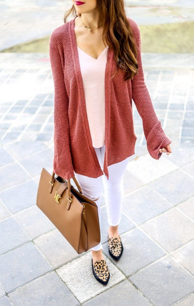 Bell Sleeve Cover Up. Leopard Shoes.  Bell Sleeve Cardigan for Fall. Neutral Cardigan Look for Fall. Pink for Fall. Rusty Pink Cardigan for Fall. Fall Cardigans. Casual Outfits. Fall Fashion. Fall Tops. Fall Style. Warm Tones for Fall.