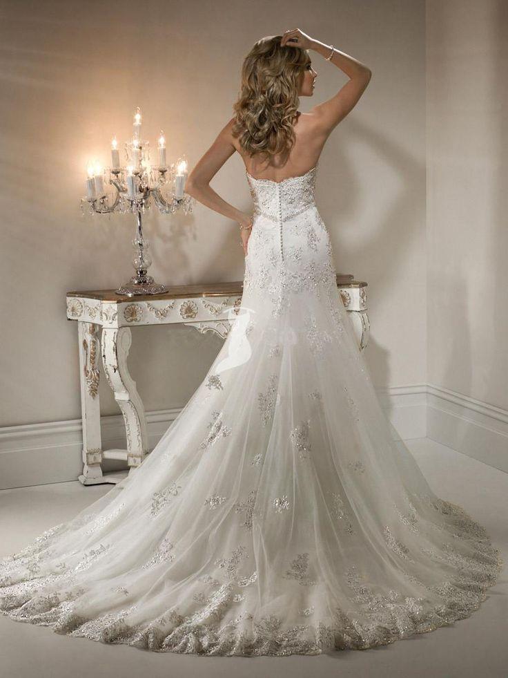 Exquisite Spitze Brautkleid A-Linie Perlen Brautkleid