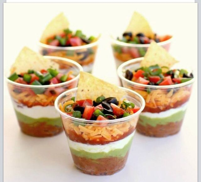 Individual 7 layer dips! How cute!