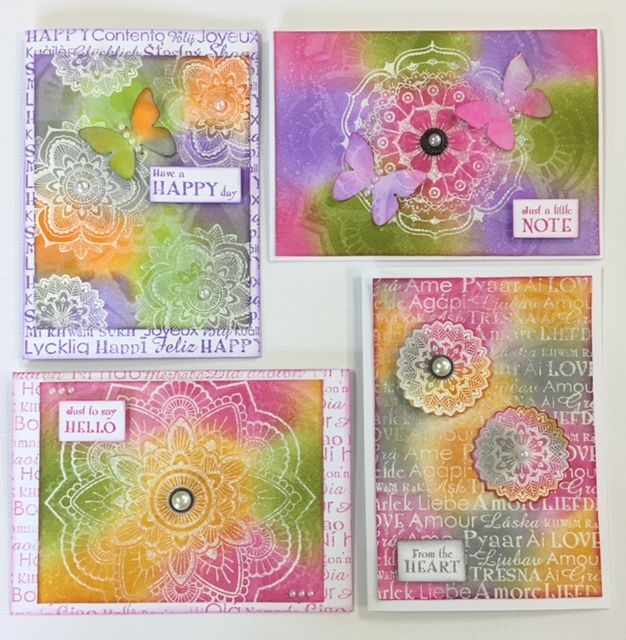 White embossed Mandala cards created with kaszazz product by Julie Storti