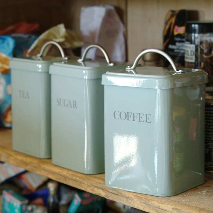 Tea Coffee Sugar Canisters   Shutter Blue, Kitchen   Grace And Glory