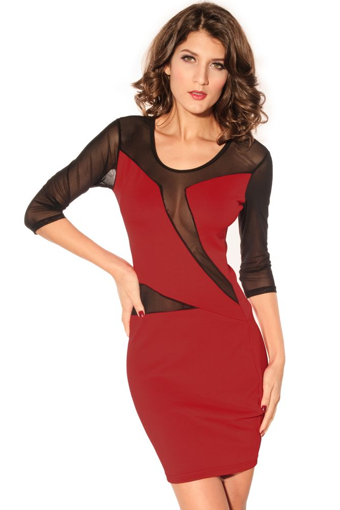 Decolletage Dress with Mesh Red