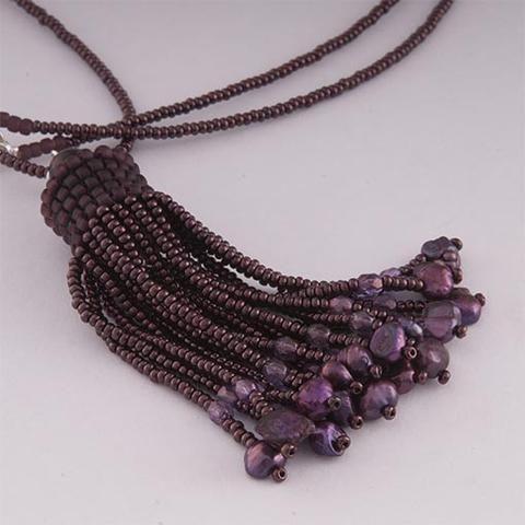 Handmade Deep Purple Shimmering Tassel Necklace - Anthos Crafts - 1