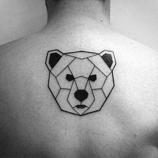 Small Simple Mens Geometric Bear Upper Back Tattoo                                                                                                                                                                                 More