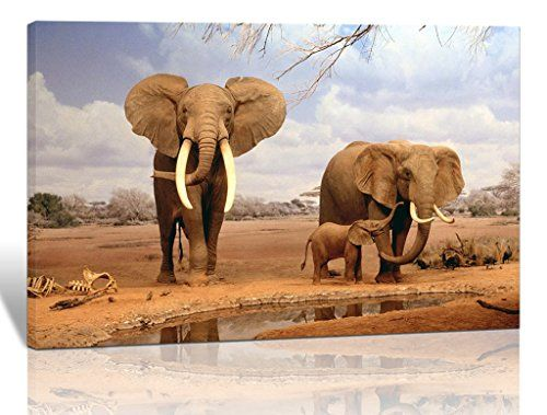 Eden Art 12''x16'' Elephant Family Animals Design Pictures Photo Prints on Canvas Wall Painting Artwork Modern HD Giclee Walls Art Work for Home Office Decor Stretched and Framed Ready to Hang
