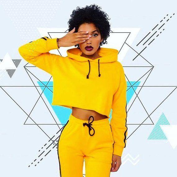 d76aec3c8 Gen-Z Yellow Track Suit, Neon Yellow Sweat Suit, Cropped Jacket ...