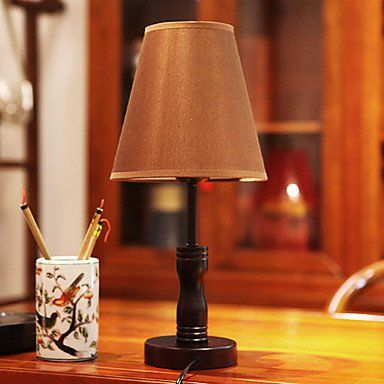 MODERN MINIMALIST WOODEN BEDROOM TABLE LAMP FABRIC SHADE DIMMER SWITCH - Click image twice for more info - See a larger selection of traditional table lamps at http://tablelampgallery.com/product-category/traditional-table-lamps/  - home, home decor, lightning, gift ideas, lamp.