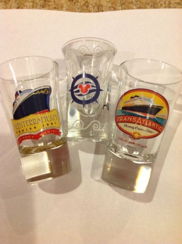 disney glasses, disney cruise line, shot glass, transatlantic, mediterranean