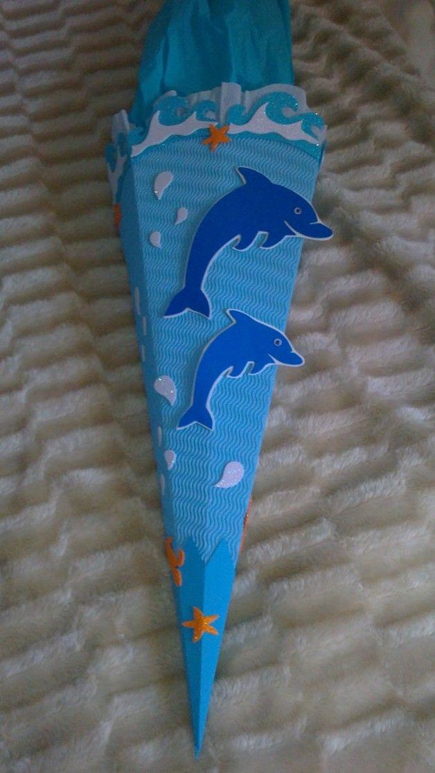 Schultüte Bastel-Set Delphin2 od. fertig gebastelt
