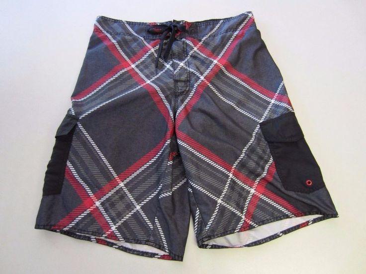 Hang Ten Swim Trunks L Large Gray Red Lined Mens CLEARANCE SALE #HangTen #Trunks