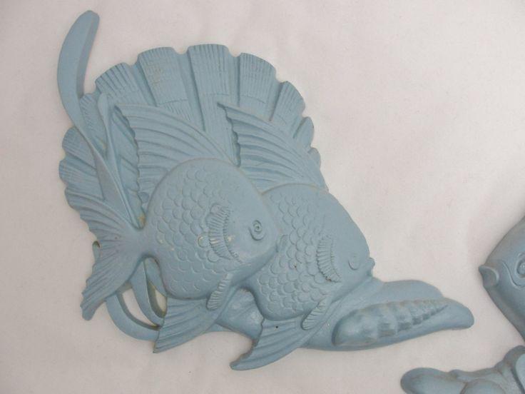 Placche di pesci dell'annata bagno pesce due targhe blu