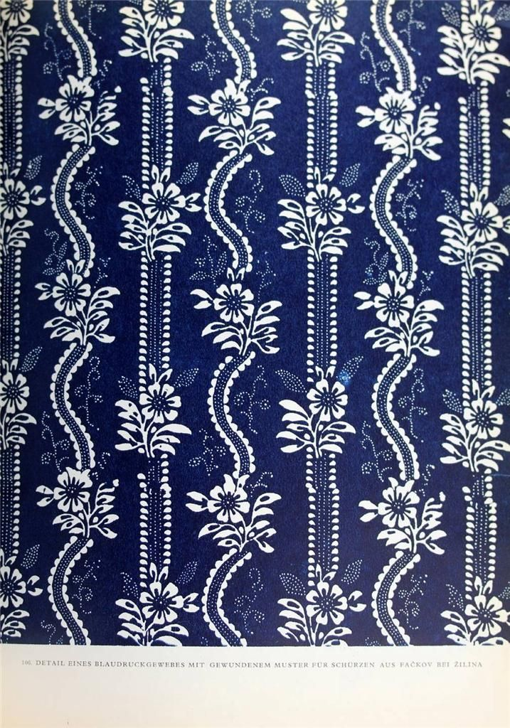 Blaudruck: block printed indigo textile, Germany.