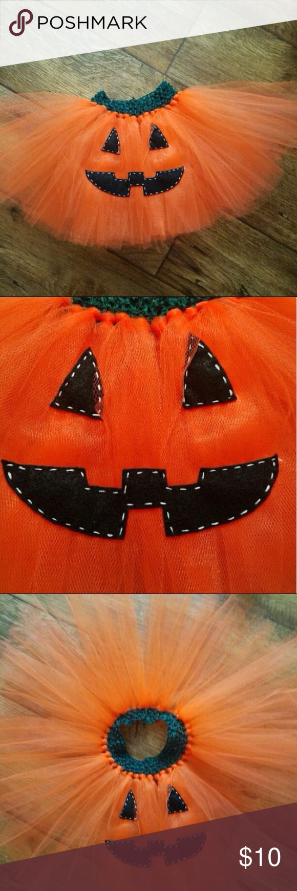 Orange Jack-O-Lantern Pumpkin Tutu Skirt Beautiful new handmade tutu with jack-o-lantern face on the front. So adorable for a  Halloween costume or photo prop. :) Fits 0-24m. PRICE IS FIRM. Bottoms Skirts