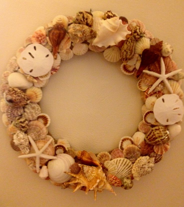 seashell wreath i made wreath door decorations pinterest