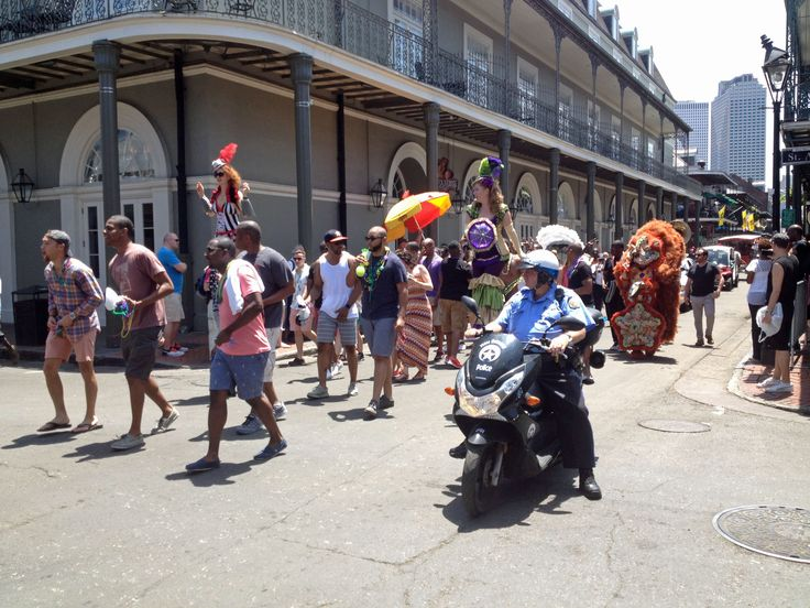 New Orleans. One of the many parades on Bourbon Street.
