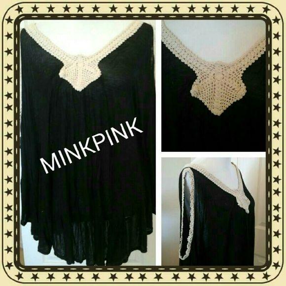 MINKPINK BLACK SMOCK TOP Sheer, flowing fabric, crochet trimmed collar and sleeves.  Wing sleeves. MINKPINK Tops