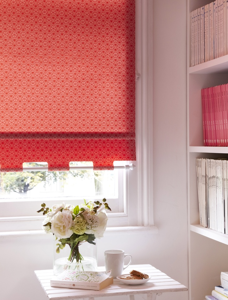 Geometric Patterns In Bright Colours Add A Great Splash Of Colour Into A  Simply Decorated Room. Made To Measure Starburst Chilli Roller Blind Is  Perfect For ...