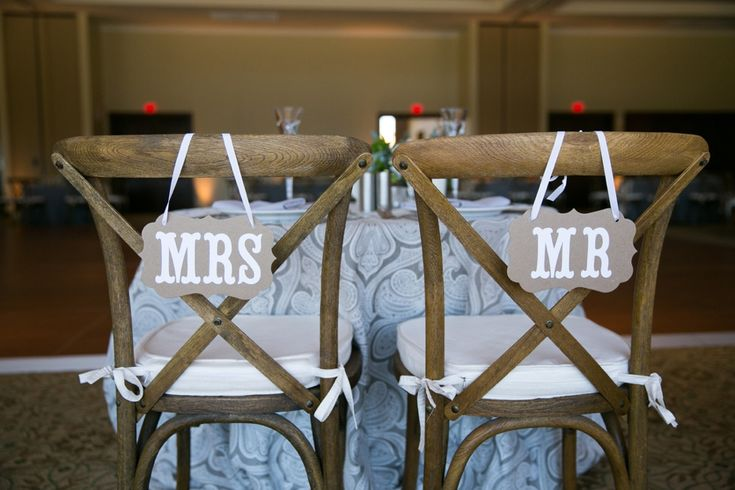 """Create your own special """"Mr. & Mrs."""" chairs during you wedding at The Clubhouse at Peacock Gap! Check out this wedding for more fabulous ideas.  http://www.peacockgapclubhouse.com/"""