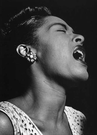 """'No two people on earth are alike, and it's got to be that way in music or it isn't music."""" — Billie Holiday • Photographed by William P. Gottlieb • New York, New York • February 1947"""