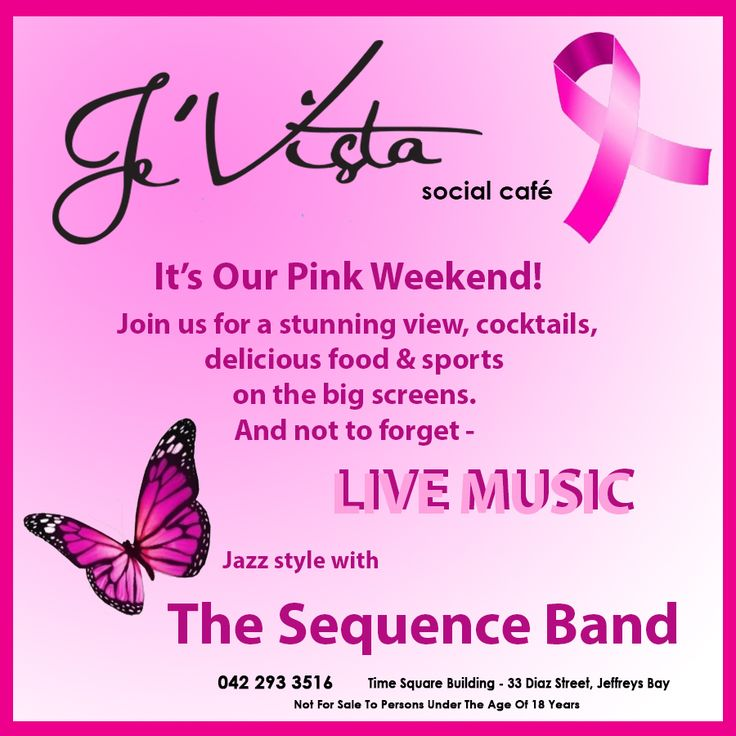 Saturdays are made for #fun! Join us this weekend with our #Pink theme. #livemusic featuring The Sequence Band - Think Pink - Wear Pink - Show your support for #breastcancer research