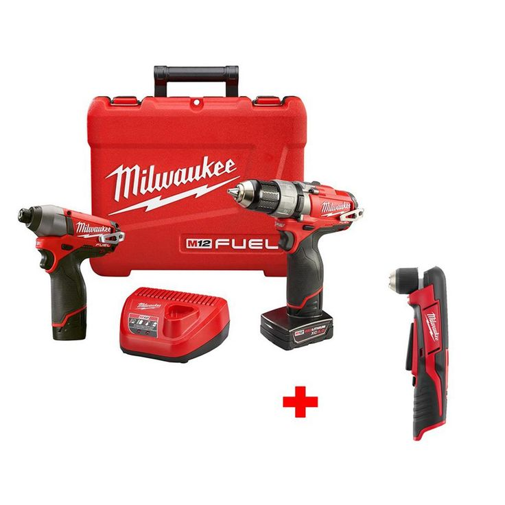 Milwaukee M12 Fuel 1/2 in. Drill/Driver and Impact Kit with Free M12 3/8 in. Right Angle Drill (Tool-Only)
