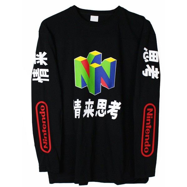 N64 Japanese Long Sleeve T-Shirt ($30) ❤ liked on Polyvore featuring tops, t-shirts, longsleeve tee, long sleeve t shirt, longsleeve t shirts, long sleeve tee and long sleeve tops