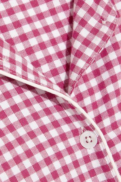 Three J NYC - Phoebe Checked Cotton-flannel Pajama Set - Plum - x small