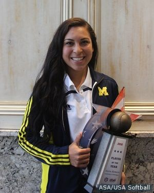"""5-31-2016: Michigan senior infielder Sierra Romero was named """"2016 USA Softball National Collegiate Player of the Year."""" The award is the most prestigious honor in Division I women's softball. Romero is the first Wolverine player in program history to earn this honor. The 2016 Big Ten Player of the Year, Romero is in the Top 10 in the USA with a .465 batting average, 19 home runs and a .585 on-base percentage while ranking in the Top 5 in the nation with 77 RBI and a .916 slugging…"""