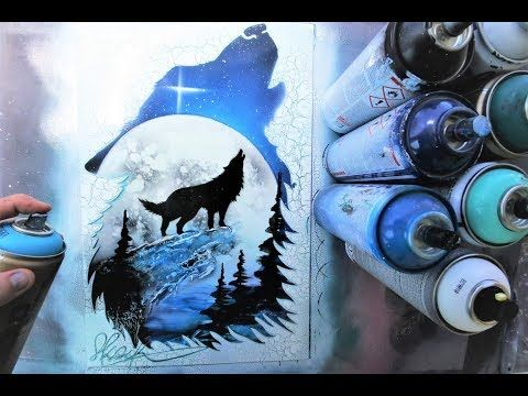 Howling Woolf GLOW IN DARK - SPRAY PAINT ART - by Skech ...