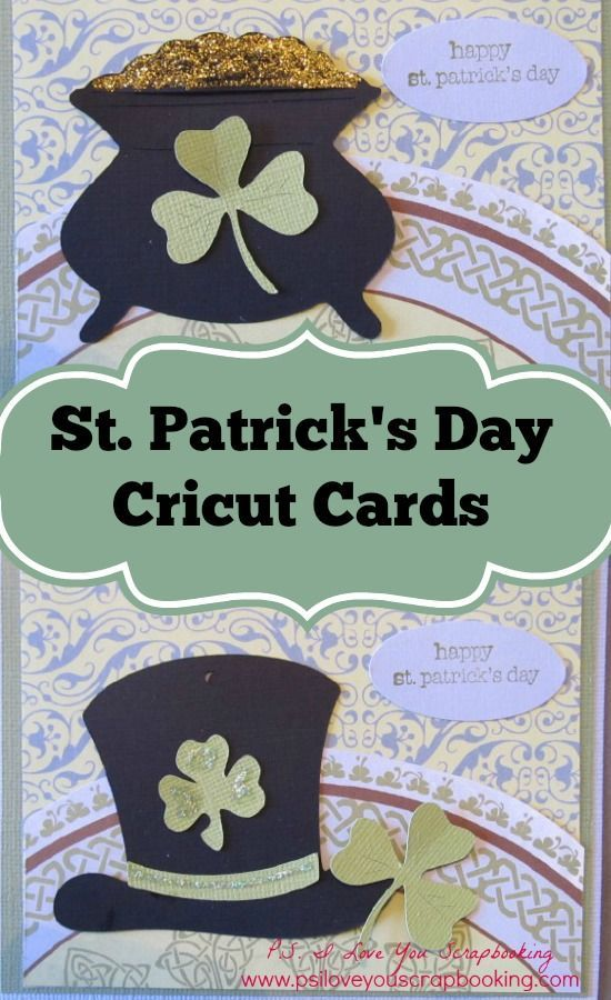 St Patricks Day Cricut Card - Pot of Gold and Leprechaun Hat with clovers. Uses the Paper Doll Dress Up Cricut Cartridge