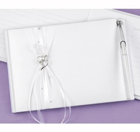 Heartfelt Whimsy White Wedding Guest Book