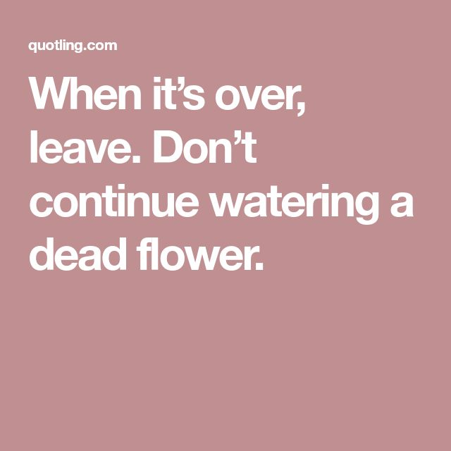 When it's over, leave. Don't continue watering a dead flower.