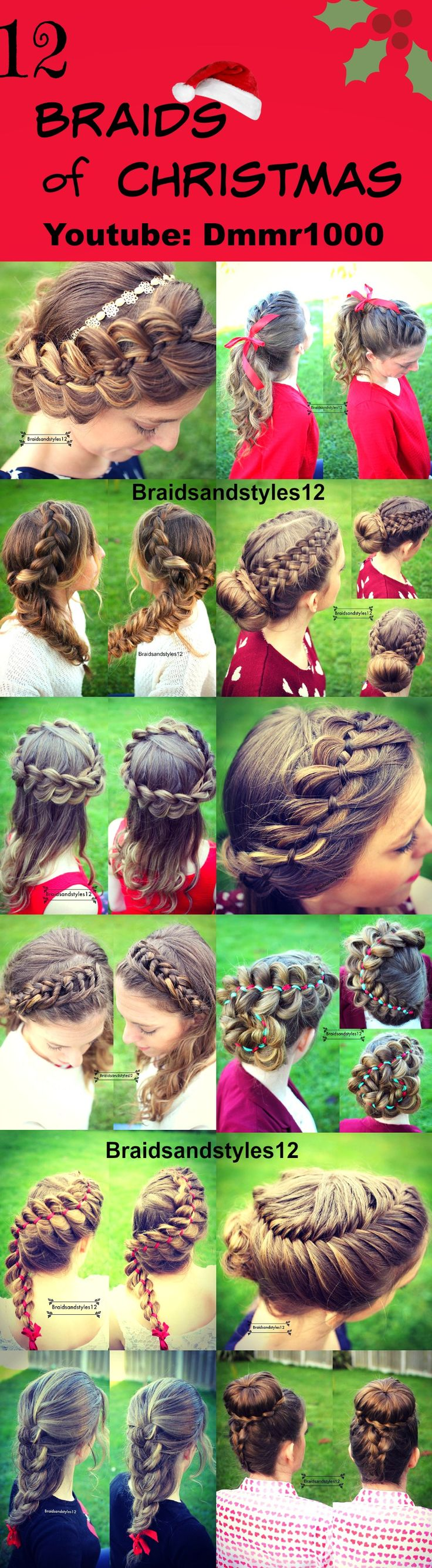 12 festive Christmas Hairstyles and Braids perfect for the holiday season! Some DIY Christmas Ideas. Perfect Braids and updos for special occasions. #frenchbraid #messybraids #fashion #beauty #style #youtube #pinterest #christmas #diyideas #christmastime #festivehairstyles