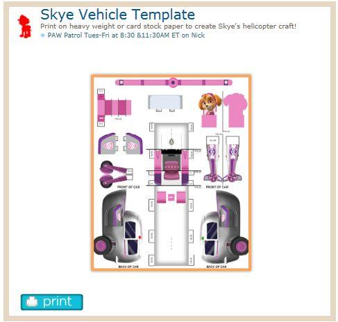 Skye Vehicle Http Www Nickjr Com Printables Skye