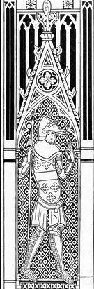 Thomas de Beauchamp, 11th Earl of Warwick depicted in 1347 as one of the 8 mourners attached to the monumental brass of Sir Hugh Hastings (d...