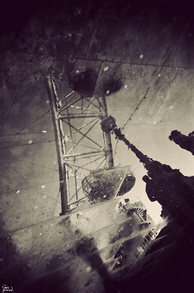 London Eye in a puddle | Gavin Hammond black outdoor