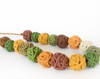 Yarn ball necklace / green brown yellow / Minimal polymer clay handmade beads, autumn leaf fall colors / macrame braiding, adjustable length.  © Mini Art Gallery