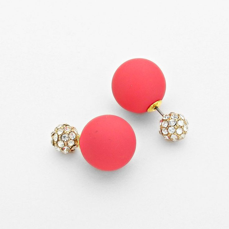 Colorful Crystal Ball Double Sided Stud Earrings | mboutiquechicago.com