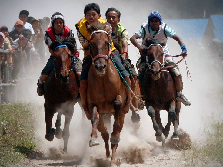 Acehnese youth compete in a traditional horse race at Belang Bebangka, Aceh province