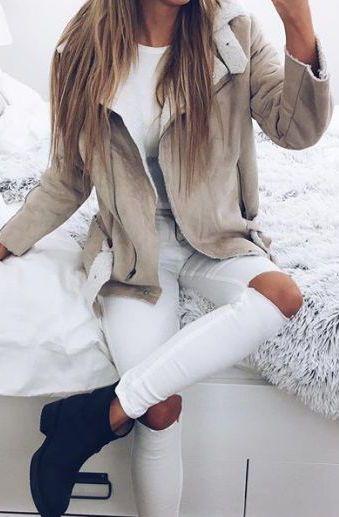 #winter #fashion / cream shearling jacket + booties