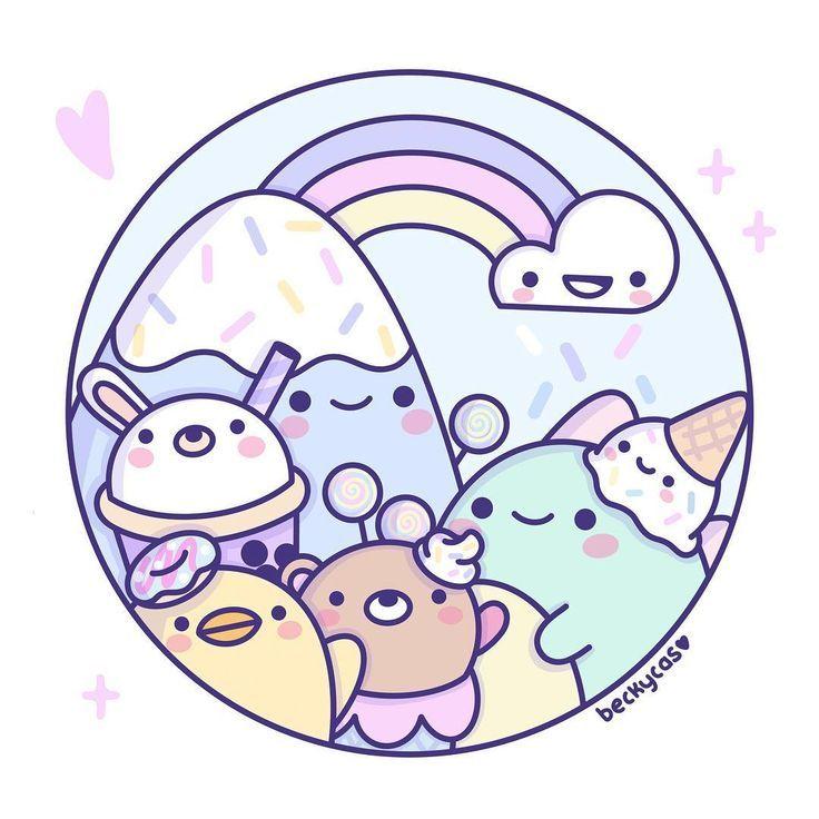Super Kawaii Pastel Sweets Landscape I Love This Adorable Doodle