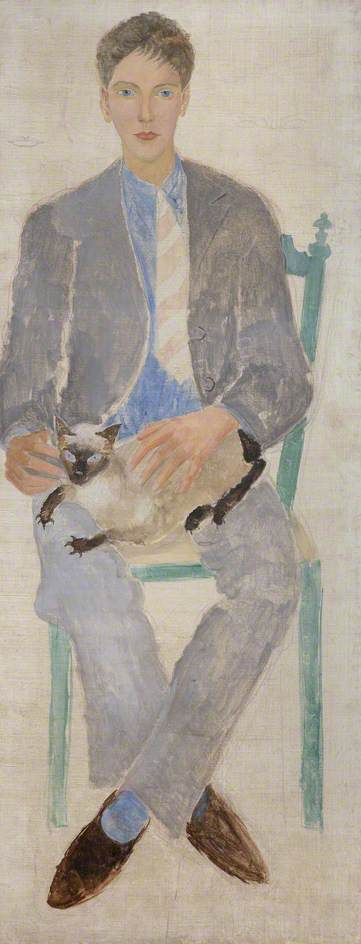 Boy with a Cat (Jean Bourgoint) by Christopher Wood , 1926. Oil on canvas. (Kettle's Yard, Cambridge University)