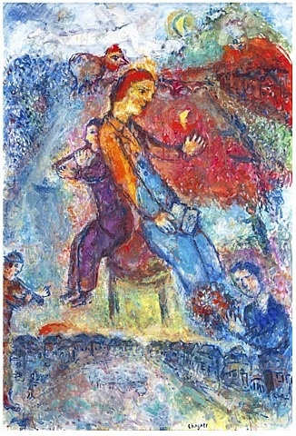 Dos a Dos (Back to Back) by Marc Chagall, 1984, Oil on canvas, h: 51.5 x w: 35 in