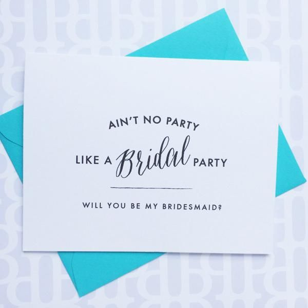 Bridal party invite in black, white and turquoise @myweddingdotcom
